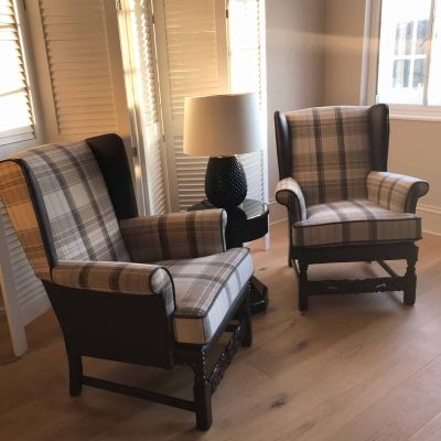 Kirk & Katherine Wing Back Arts And Crafts Armchairs